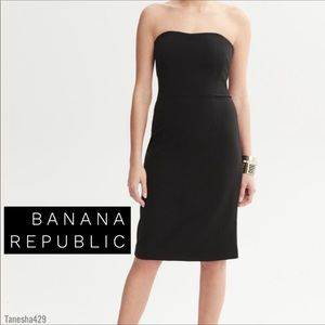 Vtg Banana Republic Italy Strapless Black Dress